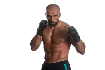 Boxing Workout Over White Background Isolated