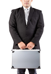 young business man holding strong metal briefcase in hand isolat