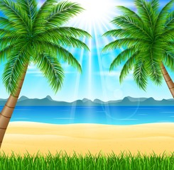 Tropical beach with bright sun and palm trees