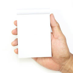 hand hold a empty(blank) note book on white background