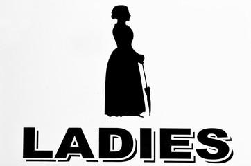 Ladies restrooms sign