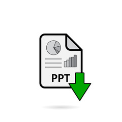 PPT file with green arrow download button on white background vector