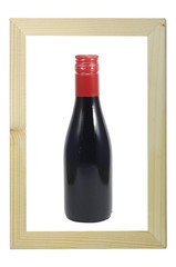 Bottle of wine in wooden frame