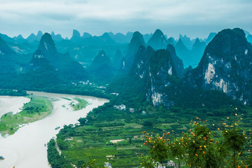 Beautiful karst mountains and river scenery