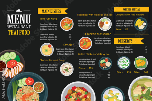 Quot vector thai food restaurant menu template flat design