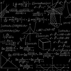 Mathematical seamless pattern with geometry formulas, math graph,triangle .