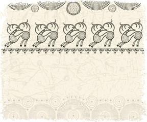 Фон для текста со стилизованным изображением оленей в племенном стиле.