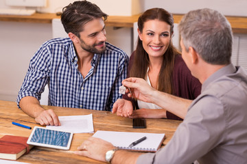 Couple at real estate agency