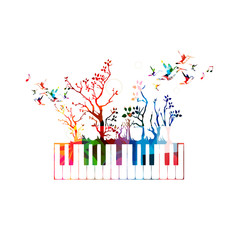Colorful music background with piano keyboard and hummingbirds