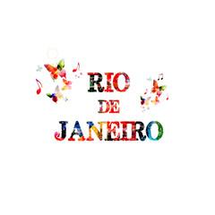 Rio de Janeiro. Calligraphy phrase with butterflies