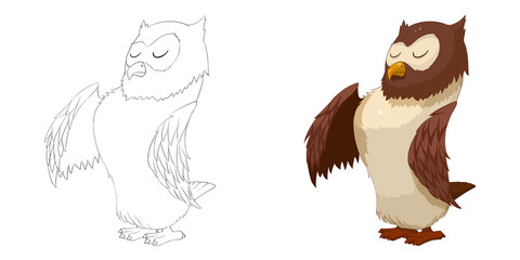 Creative Illustration and Innovative Art: Animal Set: Sketch Line Art and Coloring Book: Owl. Realistic Fantastic Cartoon Style Character Design, Wallpaper, Background, Card Design