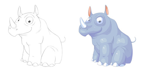 Creative Illustration and Innovative Art: Animal Set: Sketch Line Art and Coloring Book: Rhino. Realistic Fantastic Cartoon Style Character Design, Wallpaper, Story Background, Card Design