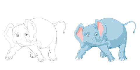 Creative Illustration and Innovative Art: Animal Set: Sketch Line Art and Coloring Book: Elephant. Realistic Fantastic Cartoon Style Artwork Character Design, Wallpaper, Story Background, Card Design