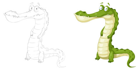 Creative Illustration and Innovative Art: Animal Set: Sketch Line Art and Coloring Book: Green Crocodile. Realistic Fantastic Cartoon Style Character Design, Wallpaper, Story Background, Card Design