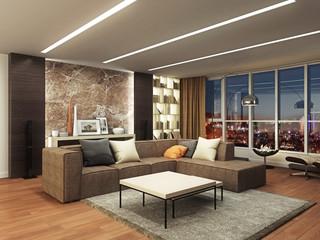 Modern interior nightview 3d rendering