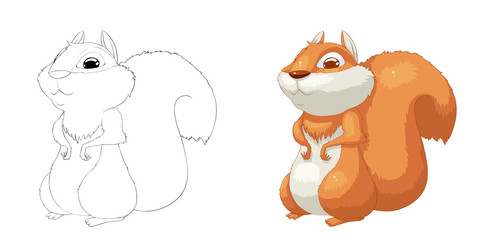 Creative Illustration and Innovative Art: Animal Set: Sketch Line Art and Coloring Book: Squirrel. Realistic Fantastic Cartoon Style Character Design, Wallpaper, Story Background, Card Design