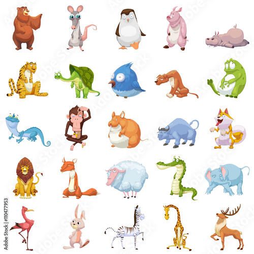 Creative Illustration And Innovative Art 25 Animals Sets Isolated On White Background Realistic Fantastic