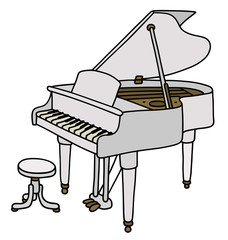White grand piano / Hand drawing, vector illustration