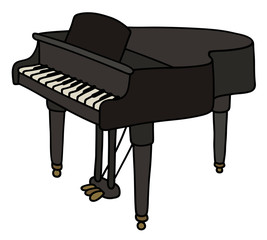Black grand piano / Hand drawing, vector illustration