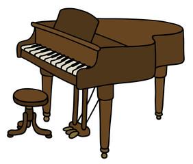 Brown grand piano / Hand drawing, vector illustration