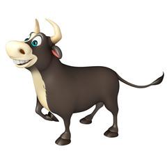 Bull funny cartoon character