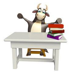 Bull cartoon character with table and chair and book stack