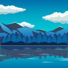Sea and mountain landscape, neverending vector illustration, cartoon background for game design. Game location