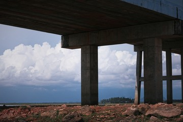 Bridge with blue sky, silhouette