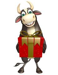 Bull cartoon character with Giftbox