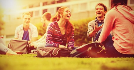 College students sitting in the park