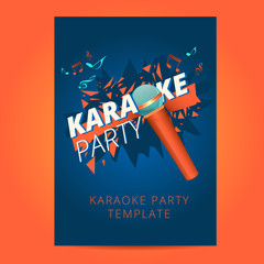 Karaoke party flyer with microphone and orange particles on a bl