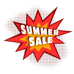 Colored Cartoon explosion SUMMER SALE. Cartoon explosion on a wh