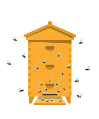 Beehive with bee on a white background. Traditional wooden beehi