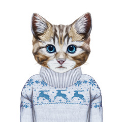 Animals as a human. Portrait of Kitty in sweater. Hand-drawn illustration, digitally colored.