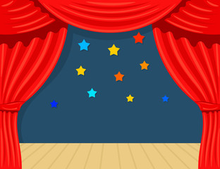 Cartoon theater with star. Theater curtain on a white background