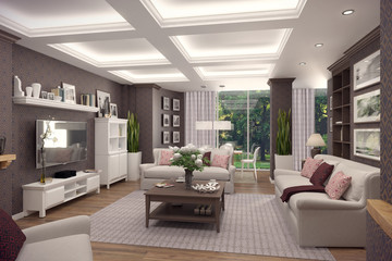 3D rendering of  living room of a classic appartment