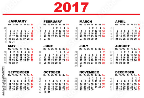 Wall Calendar 2017 First Day Monday Stock Image And Royalty Free