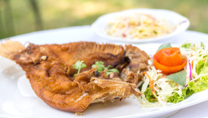 Deep fried red tilapia with fish sauce, Thai food.