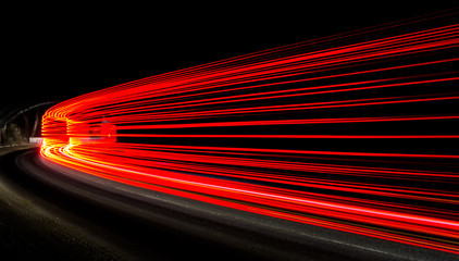 light trails in tunnel Fotomurales