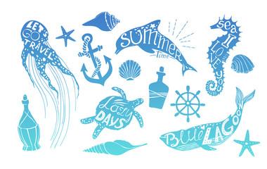 Hand drawn vector illustration - Marine life. Perfect for invita