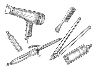 Hand-drawn vector illustration - Set of hairdresser tools (barbe