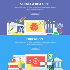 Science and Research Education Banners. Vector Illustrations