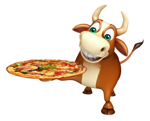 fun Bull cartoon character  with pizza