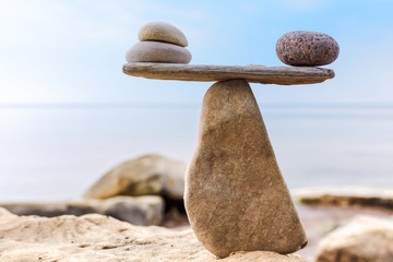 Zen-like balance of stones