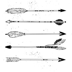 Hand drawn vector illustration. Vintage decorative arrows collec