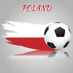 Flag of Poland with the soccer ball. National flag in vintage style. Brush as a national flag.