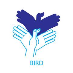 Vector Illustration of Shadow Hand Puppet Bird.
