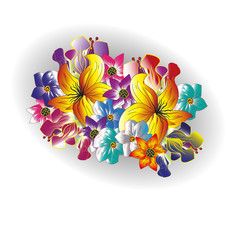 Drawing bright bouquet of summer flowers Figure on a a white background bright bouquet of summer flowers in a gray oval shadow for decoration and design