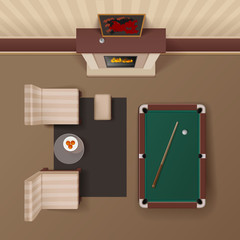 Billiard Lounge Top View Realistic Image