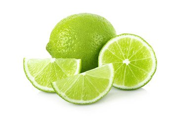Ripe lime with slices on white background